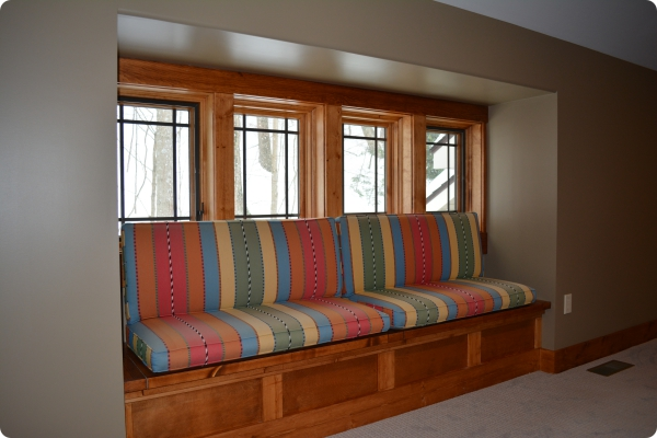 Rec Room Built-in Bench with Pillows